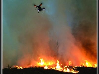 UAS Flight over fire at night