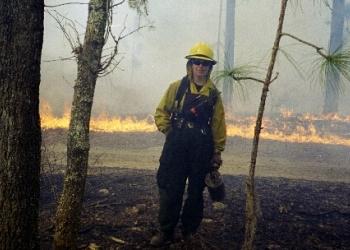 Firefighter in fire area
